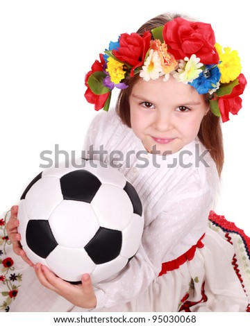 ukrainian girl with soccer ball as a Euro 2012 fan over white background/Football Theme