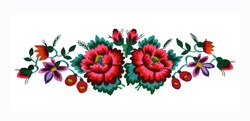 Ukrainian hand embroidery. Embroidered flowers in the old style. Composition of flowers. Isolated on a white background.