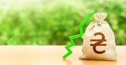 Ukrainian hryvnia money bag and green arrow up. Deposit interest rate rise. Revaluation of national currency, investment attractiveness. Economy accelerator performance. Strengthening. Economic growth