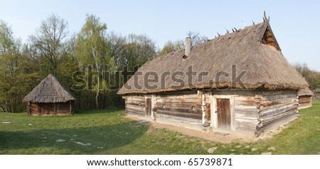 Ukrainian hut in the summer, panorama