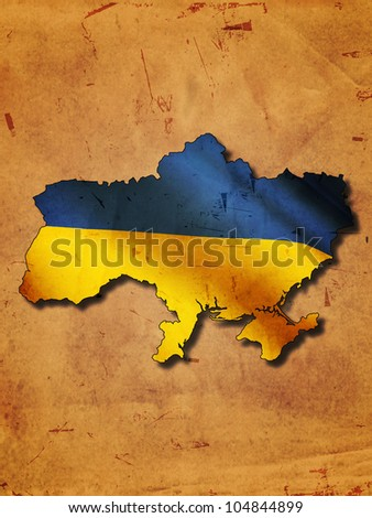 Ukrainian map with flag over old paper