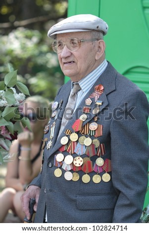 Ukrainian veterans of the Great Patriotic War Victory Day is celebrated in May, 09 2012 in Kharkiv, Ukraine.