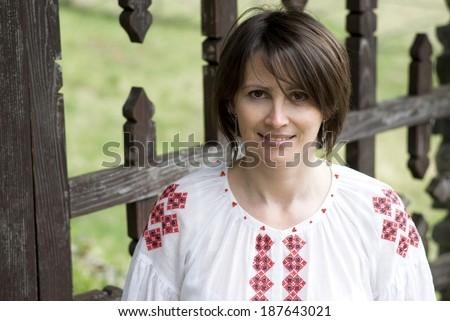 ukrainian woman in traditional...