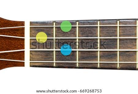 ukulele chord G dominant or G 7 on white background, isolate #669268753