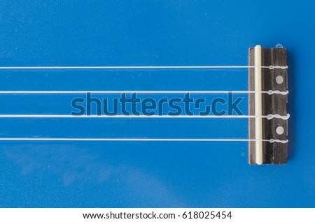 ukulele , guitar, saddle, strings, bridge. \n