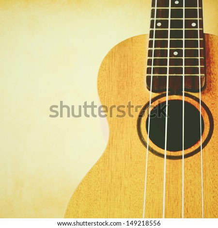 ukulele with copyspace and retro filter effect