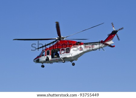 ULLADULLA, NSW, AUSTRALIA - DECEMBER 24 - NSW ambulance helicopter responding to treat a man on the New South Wales South Coast December 24, 2011.