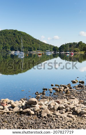 Ullswater by Pooley Bridge Lake District Cumbria England UK blue sky on beautiful summer day with sunshine