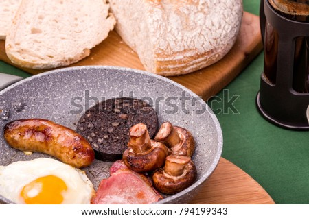 Ulster Fry Breakfast. Ulster Fry breakfast or all-day breakfast, a selection of fried breakfast food often served with Sourdough bread and hot fresh coffee.