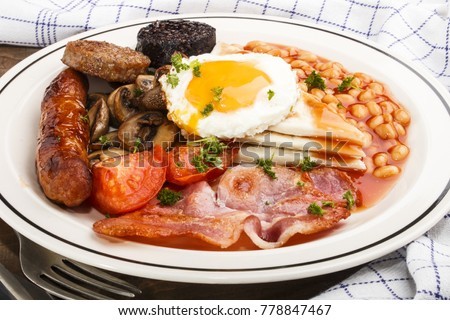 ulster fry, traditional northern irish breakfast, on a white plate