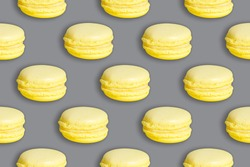 Ultimate yellow macarons on an Ultimate gray background 2021 color pattern