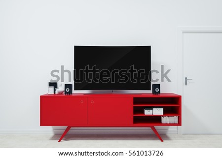 ultra hd tv curved on red TV Stands and Decor Ideas For valentines Day on white wall in empty room.3D rendering 3D illustration
