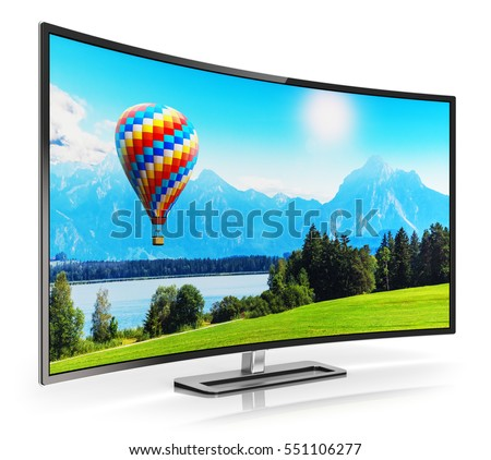 Shutterstock Ultra high definition digital television screen technology concept: 3D render of curved OLED 4K UltraHD TV or computer PC monitor display with colorful picture nature landscape isolated on white