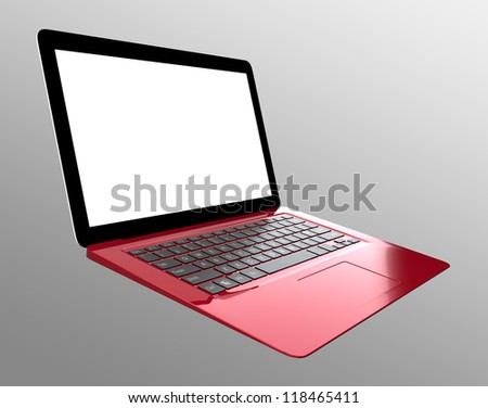 ultra slim laptop computer in burgundy color