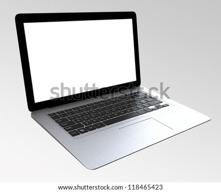 ultra thin laptop computer with blank space - stock photo