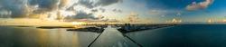 Ultra-wide angle photo Miami Beach inlet sunset scene nature landscape