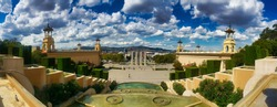 ultra wide panoramic view of the Parc de Montjuic castle The famous castle at the Montjuïc hill in Barcelona, Catalonia, Spain