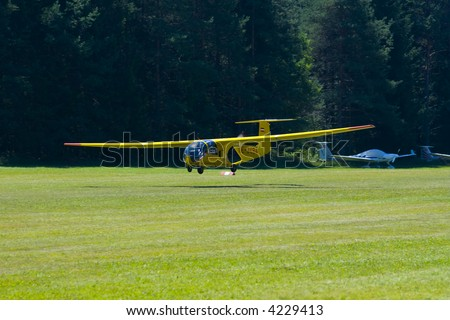 Ultralight Aircraft with pusher configuration propeller - stock photo