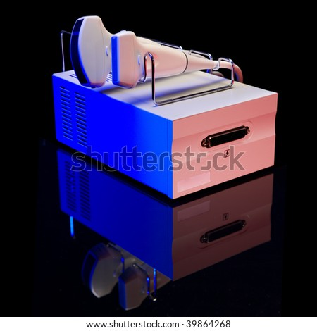Ultrasound devices on a black background color illumination - stock ...