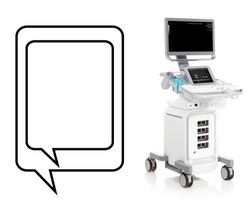 Ultrasound Machine Isolated on White. Hospital Device. Ultrasonography Machine. Diagnostic Sonography or Ultrasonography. 4d Cardiovascular Imaging Ultrasound System. Medical Diagnostic Equipment