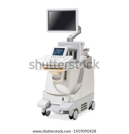 Ultrasound Machine Isolated on White. Pediatric Adult Cardiology Hospital Equipment. Cardiovascular Imaging Ultrasound System. Ultrasonography Machine. Diagnostic Sonography. Medical Diagnostic Device #1419090428