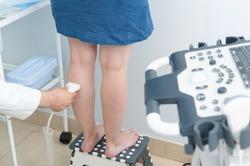 Ultrasound scan of veins in clinic. Ultrasound investigation.