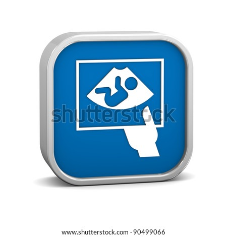Ultrasound sign on a white background. Part of a series. - stock photo
