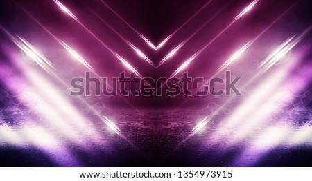Ultraviolet background of empty foggy street with wet asphalt, illuminated by a searchlight, laser beams, smoke #1354973915