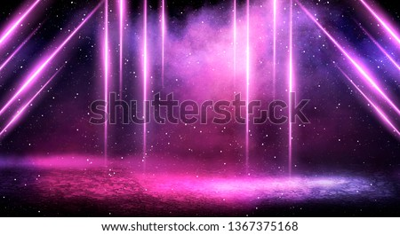 Ultraviolet background of empty foggy street with wet asphalt, illuminated by a searchlight, laser beams, smoke