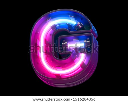 Ultraviolet neon futuristic. 3d rendering. stock photo