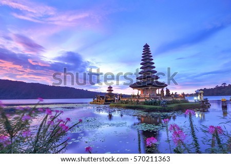Ulun Danu Beratan Temple is a famous picturesque landmark  located on the western side of the Beratan Lake , Bali ,Indonesia