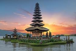 Ulun Danu temple Beratan Lake in Bali Indonesia at sunset