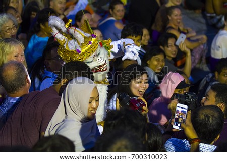 Uluwatu - JULY 17: Traditional Balinese Kecak Dance at Uluwatu Temple on Jul 06, 2017, Bali, Indonesia. Kecak (also known as Ramayana Monkey Chant) is very popular cultural show on Bali