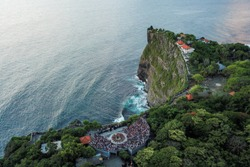 Uluwatu temple view of traditional Balinese dance from above