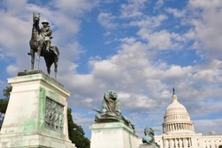 Ulysses S. Grant Cavalry Memorial in front of Capitol Hill in Washington, DC, USA.