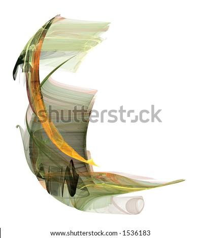 Um formulário influenciado asian terra-earth-toned rendido em umfundo branco puro. - stock photo
