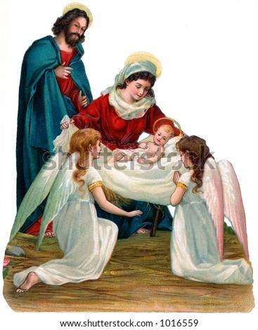 Uma ilustração da natividade do christmas do vintage comangels (circa 1896) - stock photo