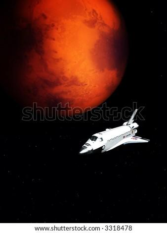Uma imagem conceptual do vôo da nave espacial ao lado de Marte. - stock photo