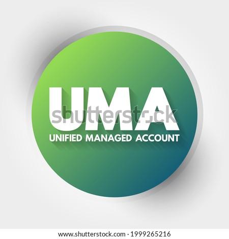 UMA - Unified Managed Account acronym, business concept background Foto stock ©