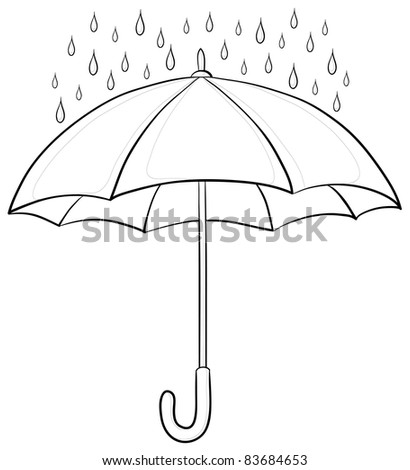 umbrella and rain drops, monochrome contours on white background