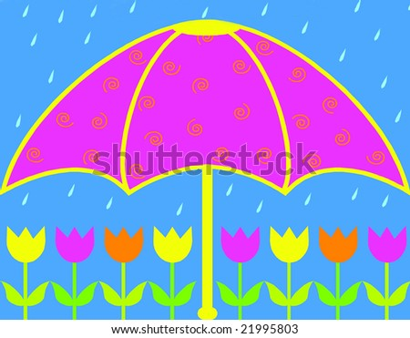umbrella and rain over tulips illustration