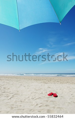 Umbrella and Red Flip Flops on Beach