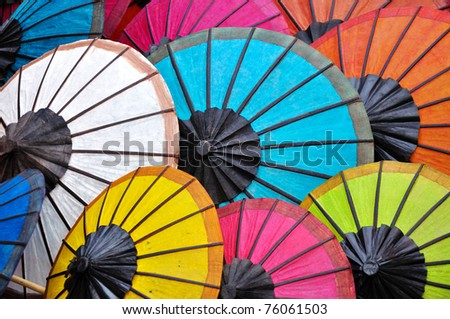 Umbrella at a tipical market, Luang Prabang, Laos.
