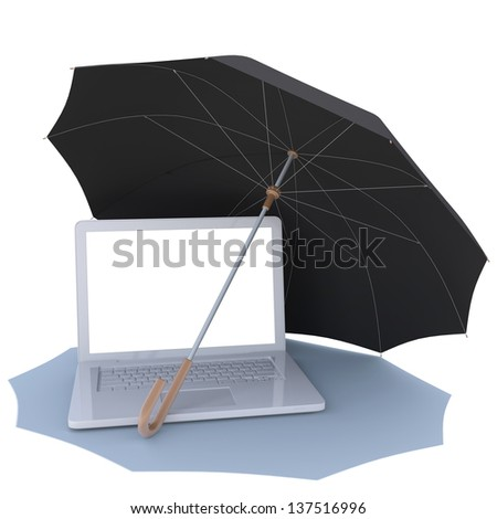 Umbrella Covers The Laptop Isolated Render On A White