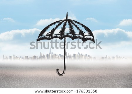 Umbrella doodle against cityscape on the horizon