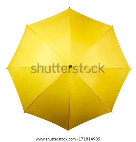 Umbrella from above isolated on white background. Yellow umbrella top on white #171814985