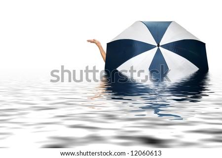 umbrella, hand and water