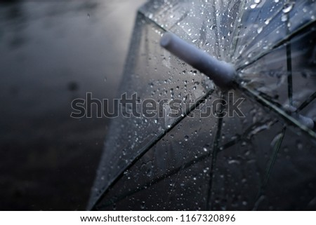 Umbrella in the rain, umbrella and rain drops closeup, view behind umbrella in rain drop, raining day, water, sunlight #1167320896
