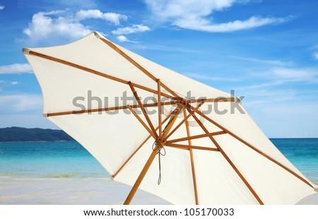 Umbrella on a beautiful beach in Boracay, Philippines