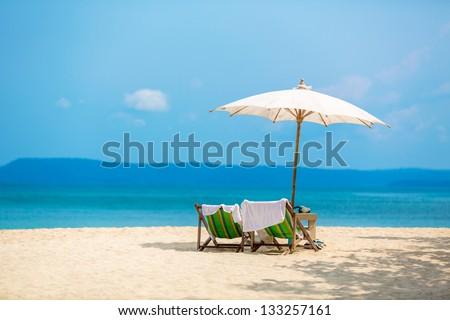 umbrella on a tropical beach #133257161